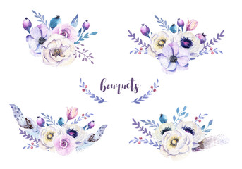 Set of watercolor vintage floral bouquets with feather. Boho spr