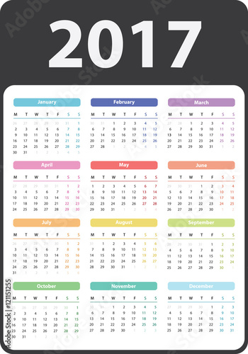 Calendar 2017 starts on monday calendar 2017 organizer 2017 vector calendar pocket