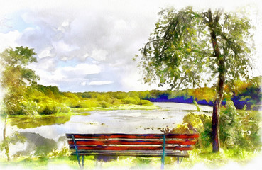 watercolor summer landscape with a bench and views of the river, a bright blue sky