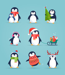 Cute penguins set - Merry Christmas greetings
