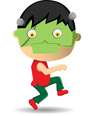 A child kid walk with frankenstein mask cartoon vector illustration