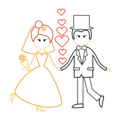 Cartoon Marriage Couple Fiance And Bride Wear Wedding Dress Holding Hands Dancing