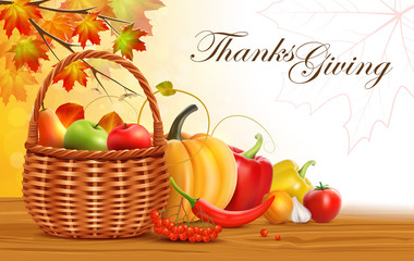 Thanksgiving greeting card. Wicker basket with fruits and vegetables.