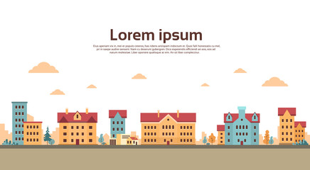 Houses Town View Banner With Copy Space