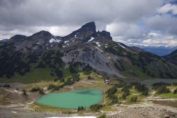 Black Tusk Mountain and Black Tusk Lake in Garibaldi Provincial Park, British Columbia, Canada.