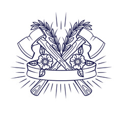 Contour monochrome tattoo hipster style. Flowers, ribbon, axes. Vector Print, logo, tattoo on a white background.