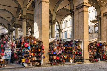Market with Leather Bags, Florence Italy,