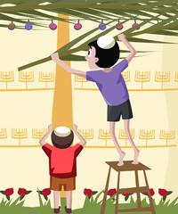 jewish boy building tabernacle