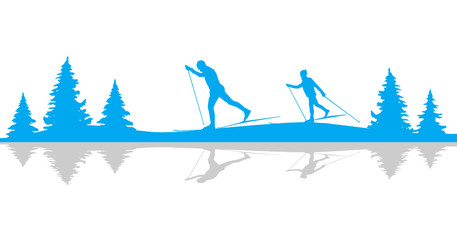 Ski Langlauf Silhouette