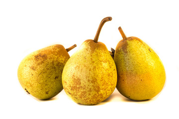 Three pears isolated on a white background