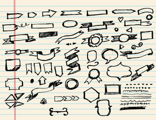 Doodle sketchy Hand drawn sketch hand drawn elements of Banners.Vector illustration