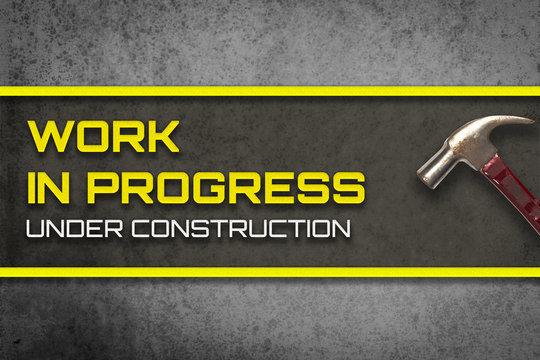 Work in progress under construction web page banner