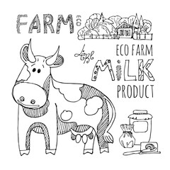 Milk cow. Milk products from eco farm. Vector set of drawings of liner. Image of dishes for milk and dairy products.Cartoon style