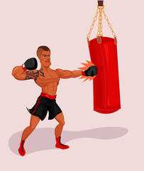 Vector illustration of a boxer