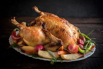 Split roasted stuffed turkey