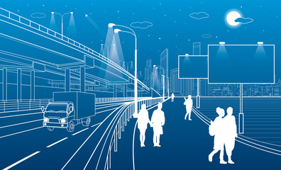 Automotive flyover, truck travels, architectural, infrastructure and transportation, transport overpass, people walking, billboards, highway, white lines, urban scene, night city, vector design art
