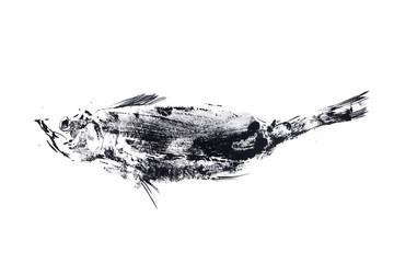 outline ink print on white ground, black fish stamp.