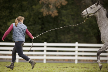 Young woman running with her grey horse in a paddock.