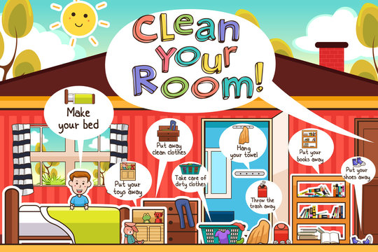 Kids Cleaning Room Chores Infographic