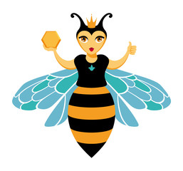 Smiling, cartoon queen honey bees in the crown. Keeps honeycomb and showing sign Okay. For a logo, trade mark, design. Vector isolated on background.
