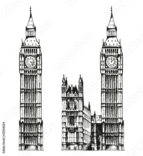 """Illustration of Elizabeth Tower (Big Ben) and Palace of ... 