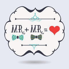 Conceptual Mr. plus Mr. equals red heart icons on blue background