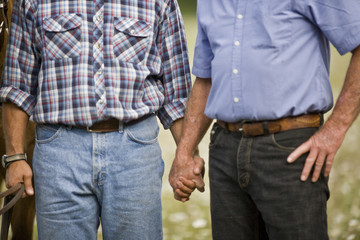 Gay couple holding hands and reins of horse