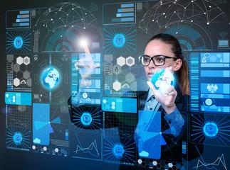 Businesswoman in data mining concept