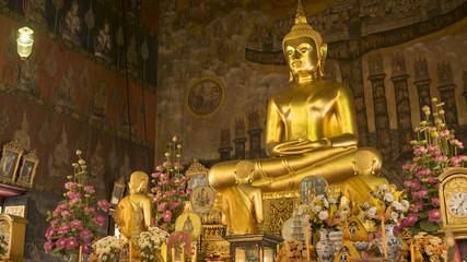 Buddha gold statue and thai art architecture in Wat Rakhang Khositaram ( Publice temple) In Bangkok ,Thailand.