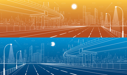 Automotive flyover, architectural and infrastructure panorama, transport overpass, highway. Business center, night city, towers and skyscrapers, white lines urban scene, day and vector design art