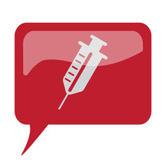 Red speech bubble with white Syringe icon on white background