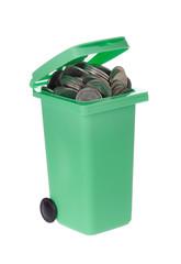 Soptunna med mynt