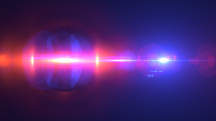 Beautiful light flares. Glowing streaks on dark background. Police light flares