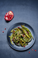roasted snap green beans with Pomegranate