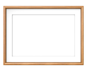 Wooden Picture Frame. 3D render of Wooden Frame with white Passe-partout. Rounded profile. Blank for Copy Space.