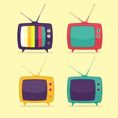 Colorful Retro TV Set. Flat Design Style.