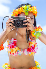 Hawaii hula dancer makes photo with camera