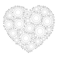 Heart shape mosaic of cog wheels. Looks like clockwork heart or love machine. White cogs with thin black outline on white background.