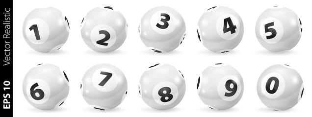Set of Lottery Black and White Number Balls 0-9. Lottery Number Balls. Black and white balls isolated. Set of black and white balls. Realistic vector. Lotto concept. White Bingo Balls.