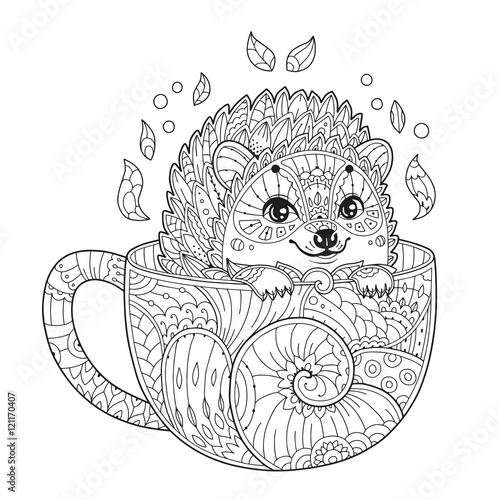 hedgehog in cup adult antistress coloring page with animal in zentangle style doodle vector. Black Bedroom Furniture Sets. Home Design Ideas