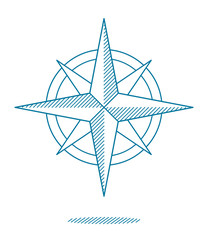 Blue compass rose icon with hatching