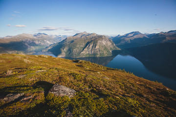 Hiking in Norway, classic norwegian scandinavian summer mountain norwegian landscape