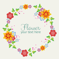 flat flower style wreath