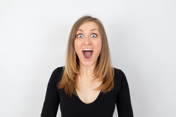 Young woman is very surprised