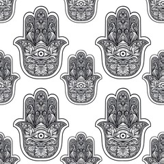 Seamless pattern with indian hand drawn hamsa.