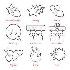 Vector outline icons set with social media symbols for infographics and mobile UX UI kit