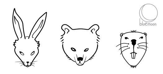 rabbit or hare, bear and beaver faces or masks in black and white vector illustration