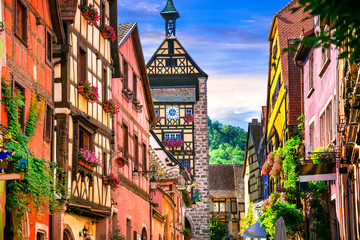 "Most beautiful villages of France - Riquewihr in Alsace. Famous ""vine rote"""