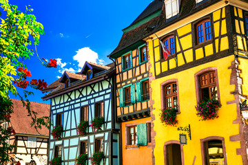 Fototapete - Beutiful places of France - colorful Riquewihr village in Alsace