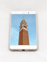 Modern smartphone displaying full screen picture of Venice, Ital